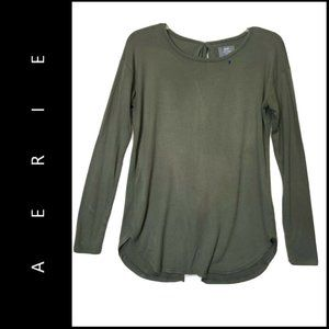 Aerie Women Open Back Top Blouse Size XS Green